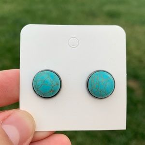 CLIP ON Homemade Turquoise Stone Stud  Earrings